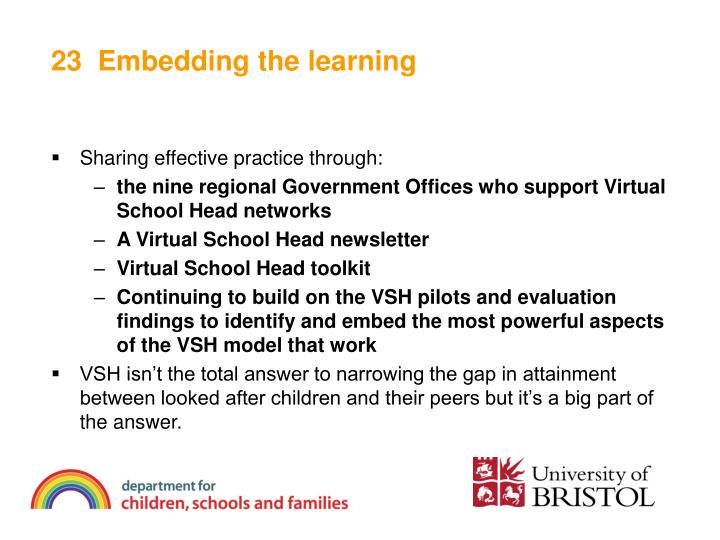 23  Embedding the learning
