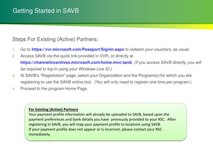 Getting Started in SAVB