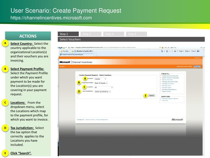 User Scenario: Create Payment Request