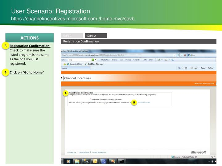 User Scenario: Registration