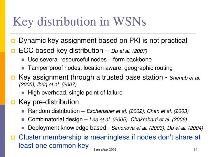 Key distribution in WSNs