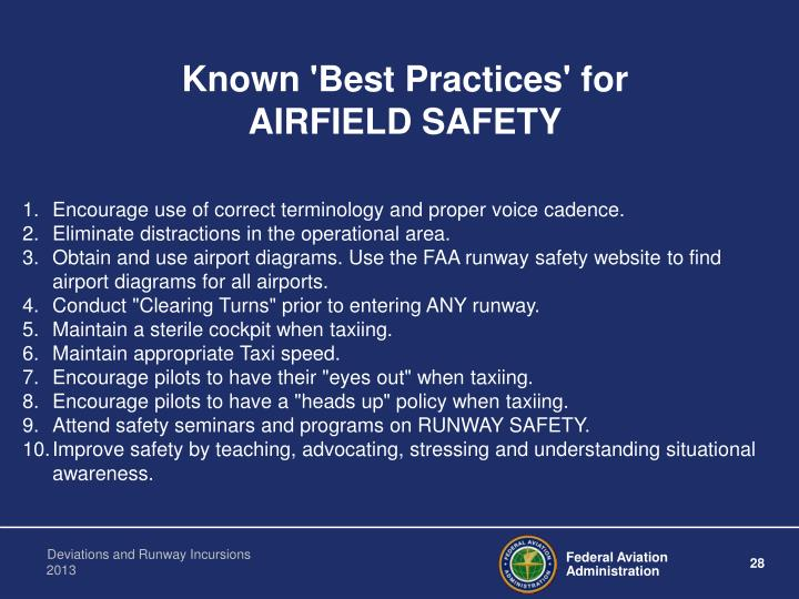 Known 'Best Practices' for