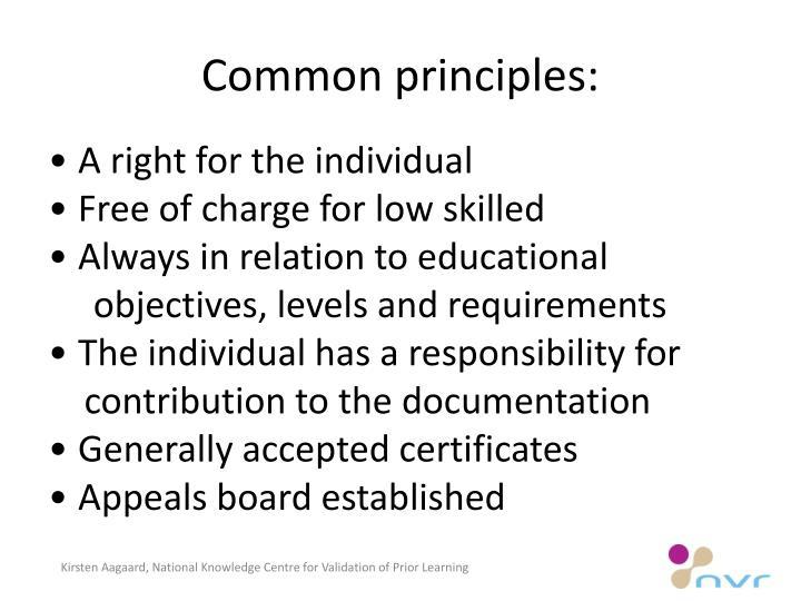 Common principles: