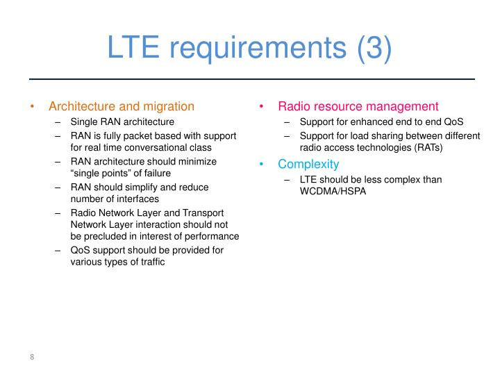 LTE requirements (3)