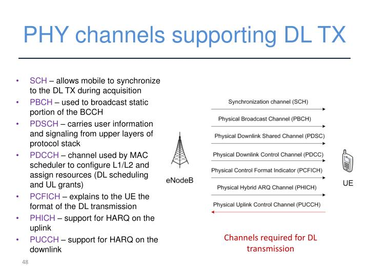 PHY channels supporting DL TX