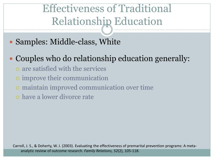 Effectiveness of traditional relationship education