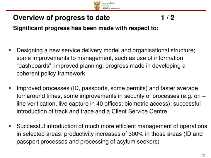 Overview of progress to date1 / 2