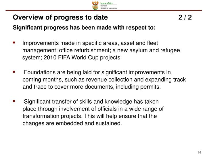 Overview of progress to date2 / 2