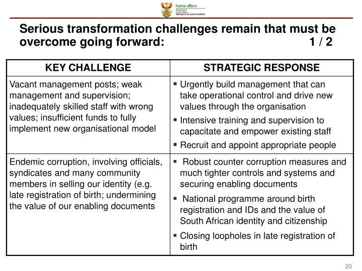 Serious transformation challenges remain that must be overcome going forward:1 / 2
