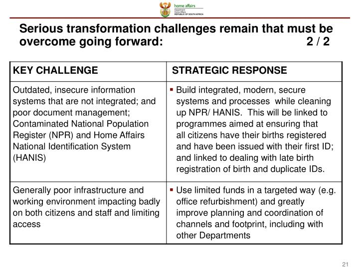 Serious transformation challenges remain that must be overcome going forward:2 / 2