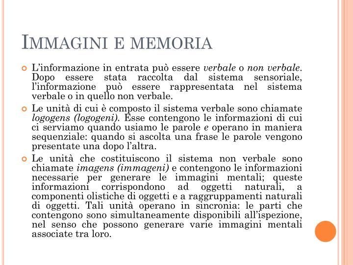 Immagini e memoria