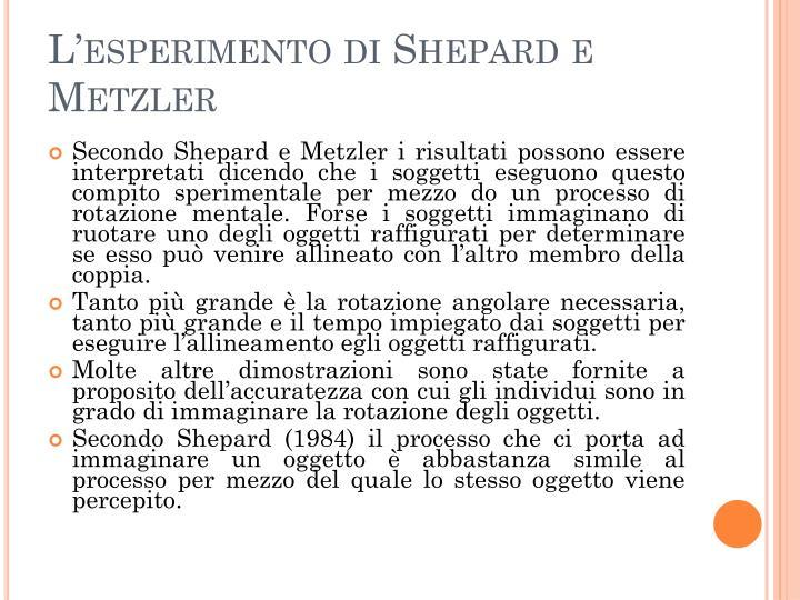 L'esperimento di Shepard e Metzler