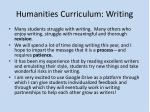 humanities curriculum writing