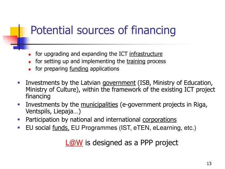 Potential sources of financing