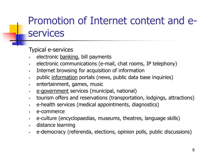 Promotion of Internet content and e-services