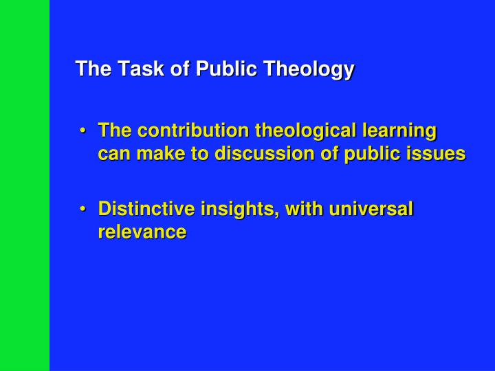The task of public theology