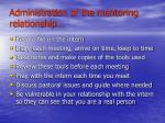 administration of the mentoring relationship
