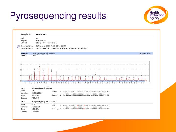 Pyrosequencing results