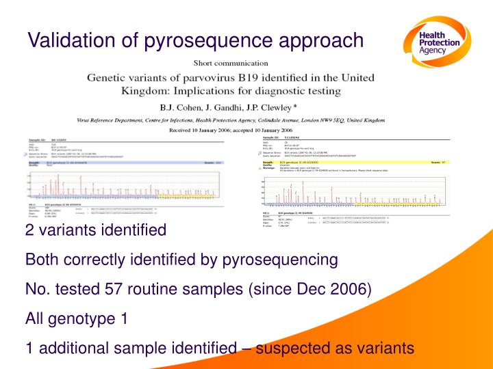 Validation of pyrosequence approach