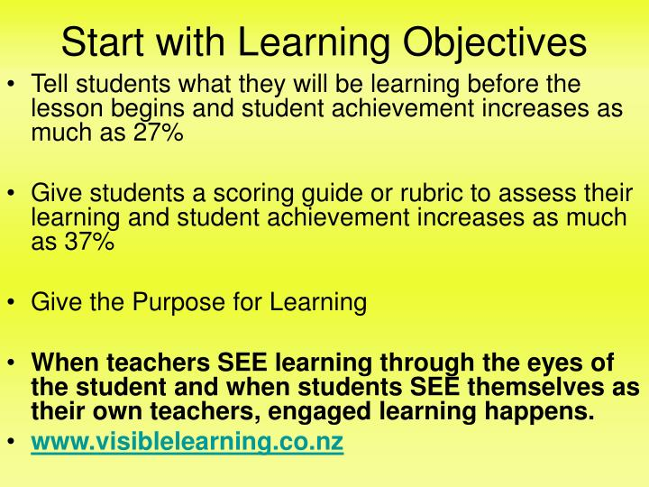 Start with learning objectives