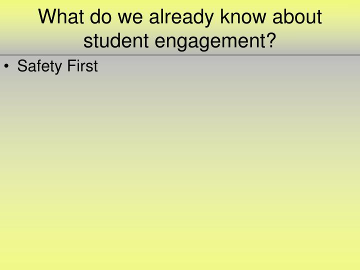 What do we already know about student engagement?