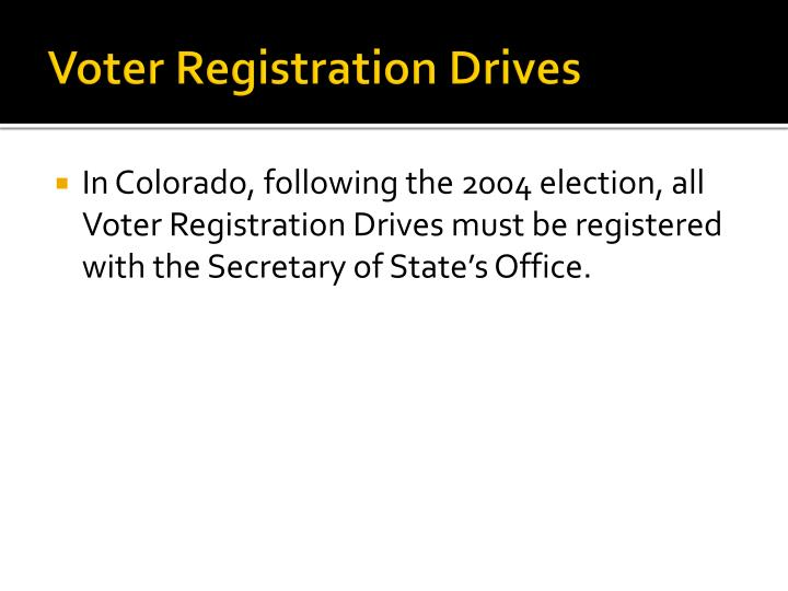 Voter Registration Drives