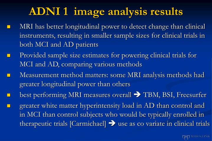 ADNI 1  image analysis results