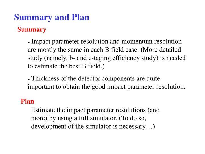 Summary and Plan