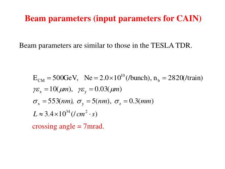 Beam parameters (input parameters for CAIN)
