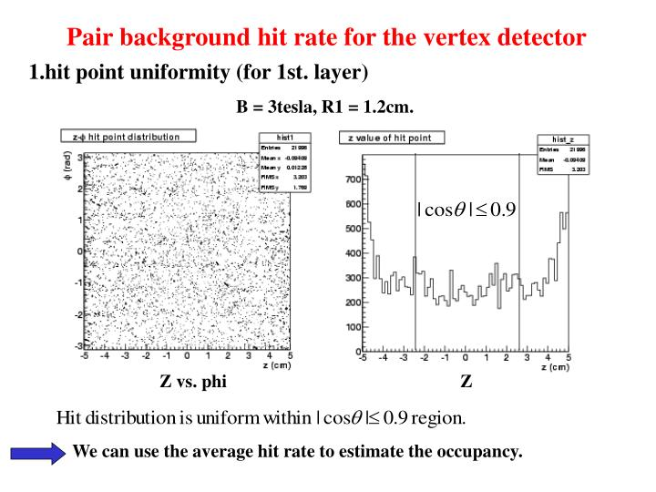 Pair background hit rate for the vertex detector