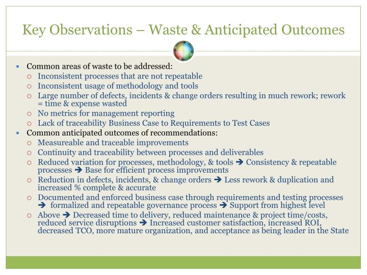 Key Observations – Waste & Anticipated Outcomes
