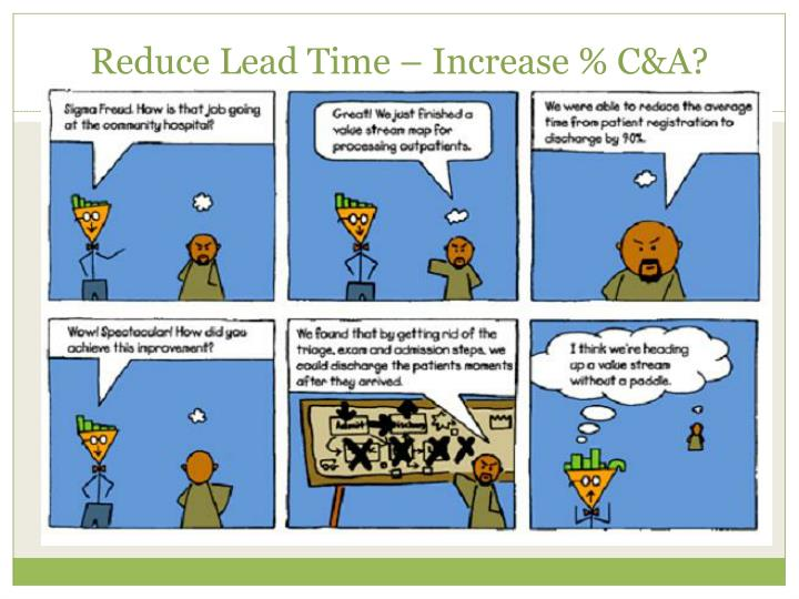 Reduce Lead Time – Increase % C&A?