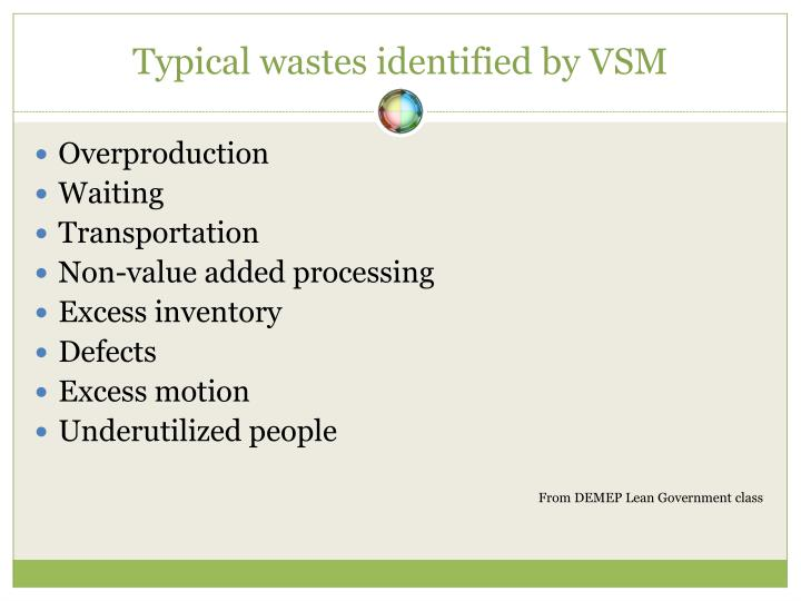Typical wastes identified by VSM