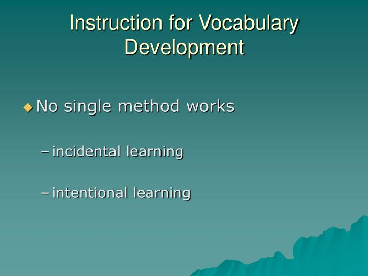 Instruction for Vocabulary Development