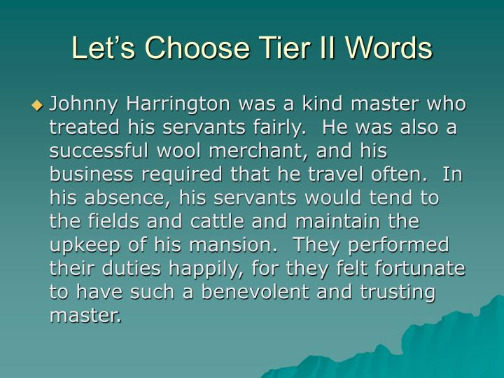 Let's Choose Tier II Words