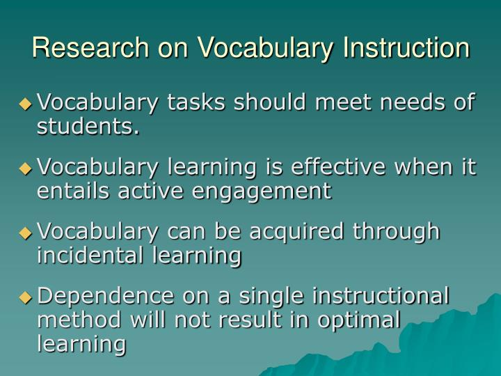 Research on Vocabulary Instruction