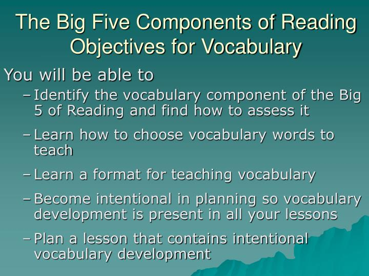 The big five components of reading objectives for vocabulary