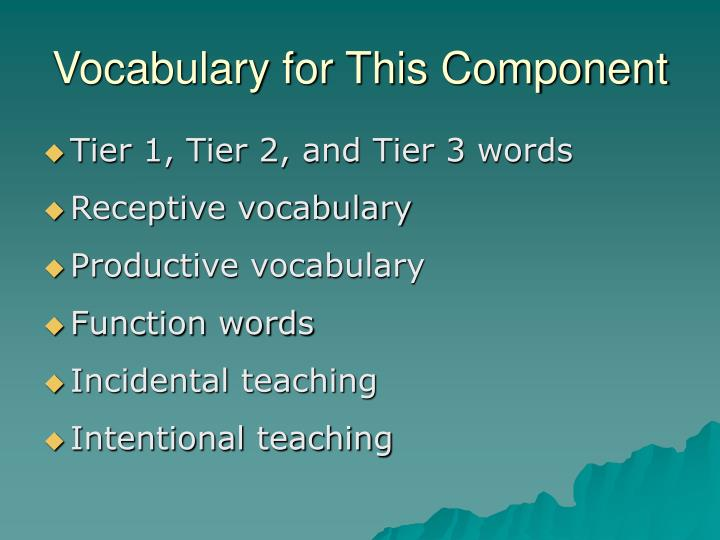 Vocabulary for this component
