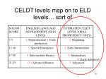 celdt levels map on to eld levels sort of5