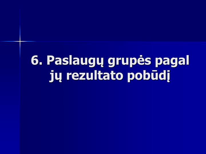 6. Paslaugų grupės pagal jų rezultato pobūdį
