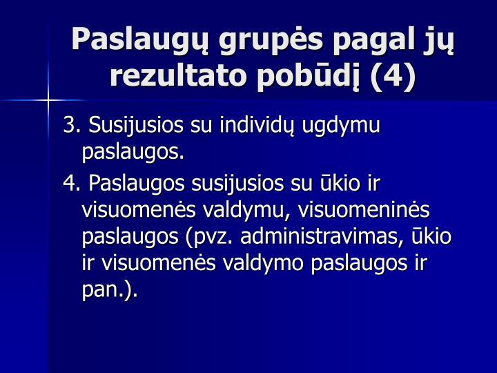Paslaugų grupės pagal jų rezultato pobūdį (4)