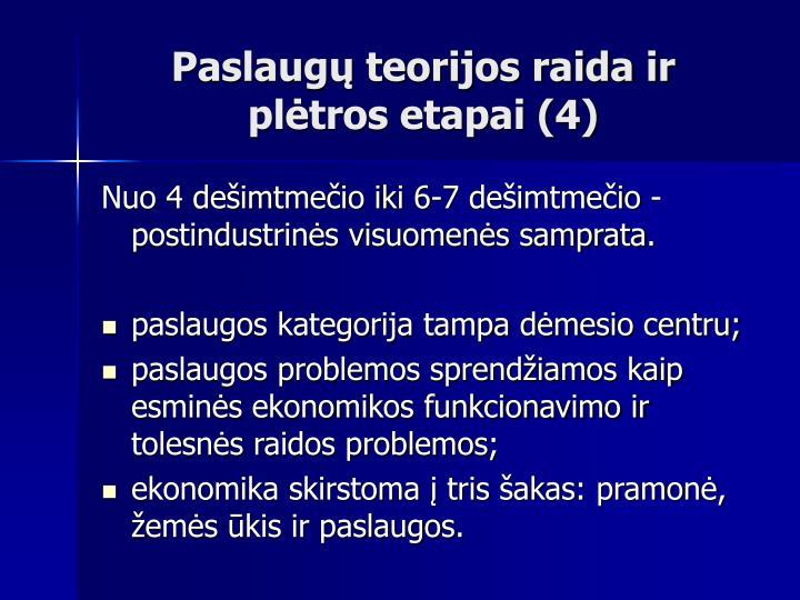 Paslaugų teorijos raida ir plėtros etapai (4)