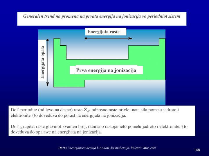 Generalen trend na promena na prvata energija na jonizacija vo periodniot sistem