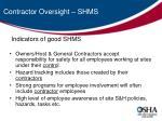 contractor oversight shms