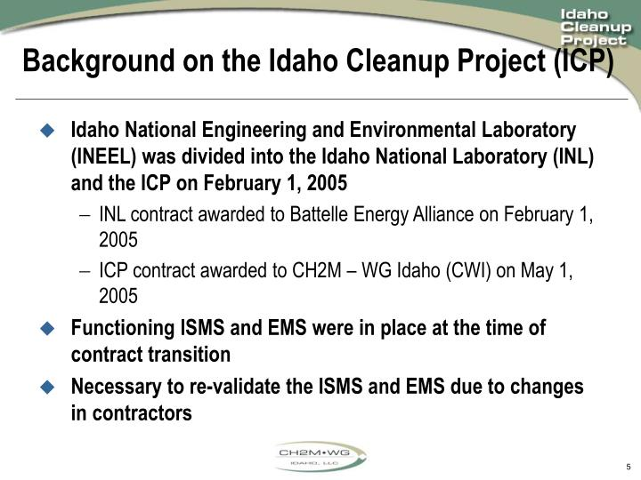 Background on the Idaho Cleanup Project (ICP)