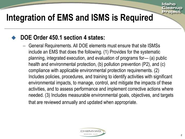 Integration of ems and isms is required