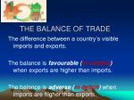 the balance of trade