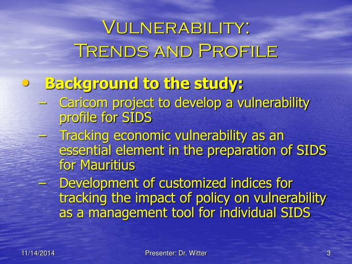 Vulnerability trends and profile