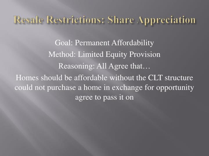 Resale Restrictions: Share Appreciation
