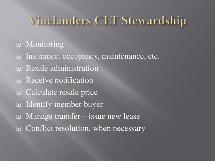 Vinelanders CLT Stewardship
